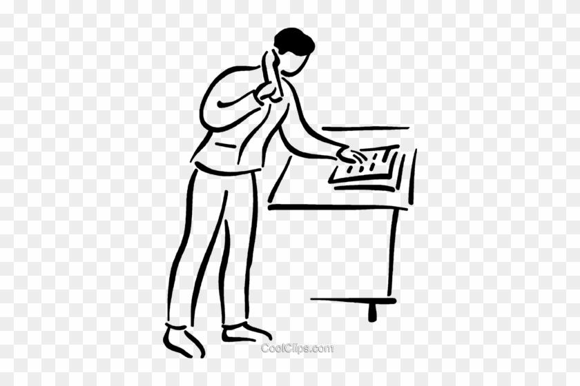 Man Making A Phone Call Royalty Free Vector Clip Art - Phone Call Clip Art Black And White #880825