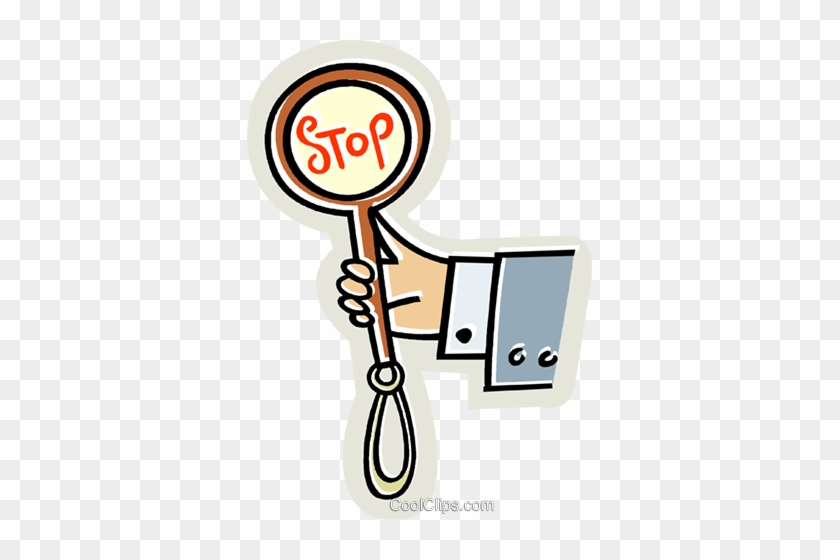 Hand With Stop Sign Royalty Free Vector Clip Art Illustration - Hand With Stop Sign Royalty Free Vector Clip Art Illustration #880957