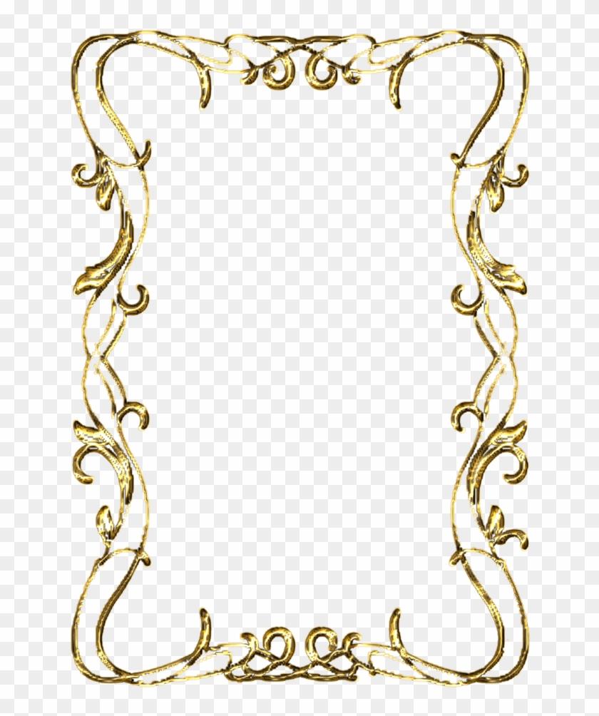 Gold Scroll Clip Art - Golden Frame Transparent Background #881286