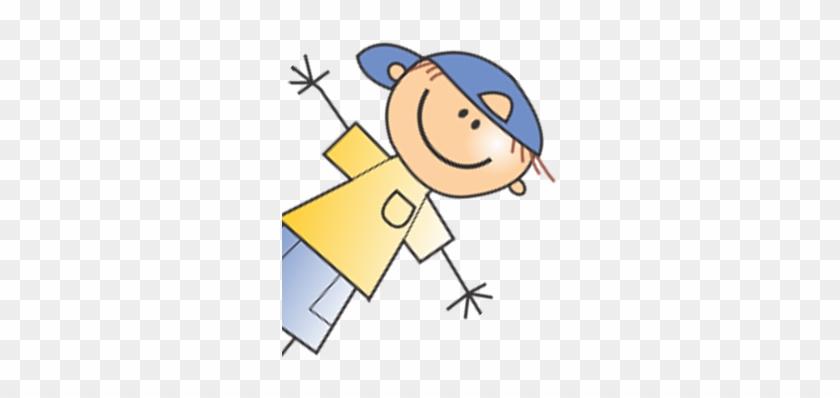 Bildergalerie - Stick Figure Boy Baseball Cap Shower Curtain #882430
