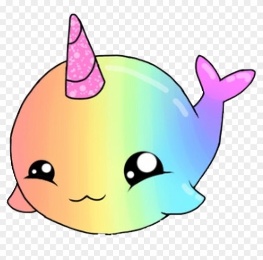 Shark Sea Cute Kawaii Rainbow Animal Nature Horn Narwha - Hello Kitty And Unicorn #884845