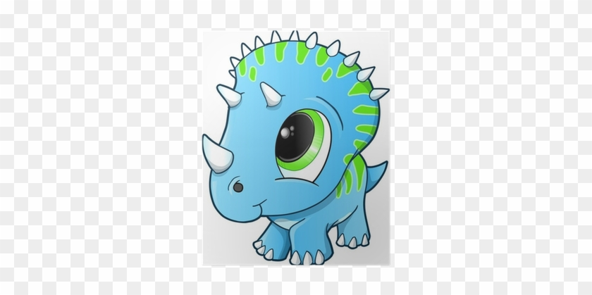 Cute Baby Triceratops Dinosaur Vector Illustration - Cute Baby Dinosaur #888775