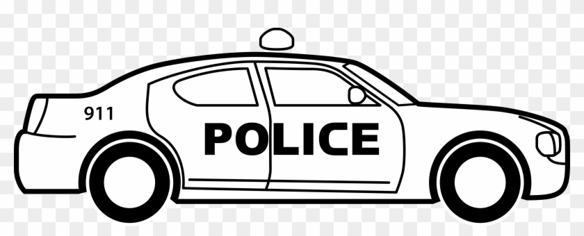 Medium Image - Police Car Black And White Clipart #890179