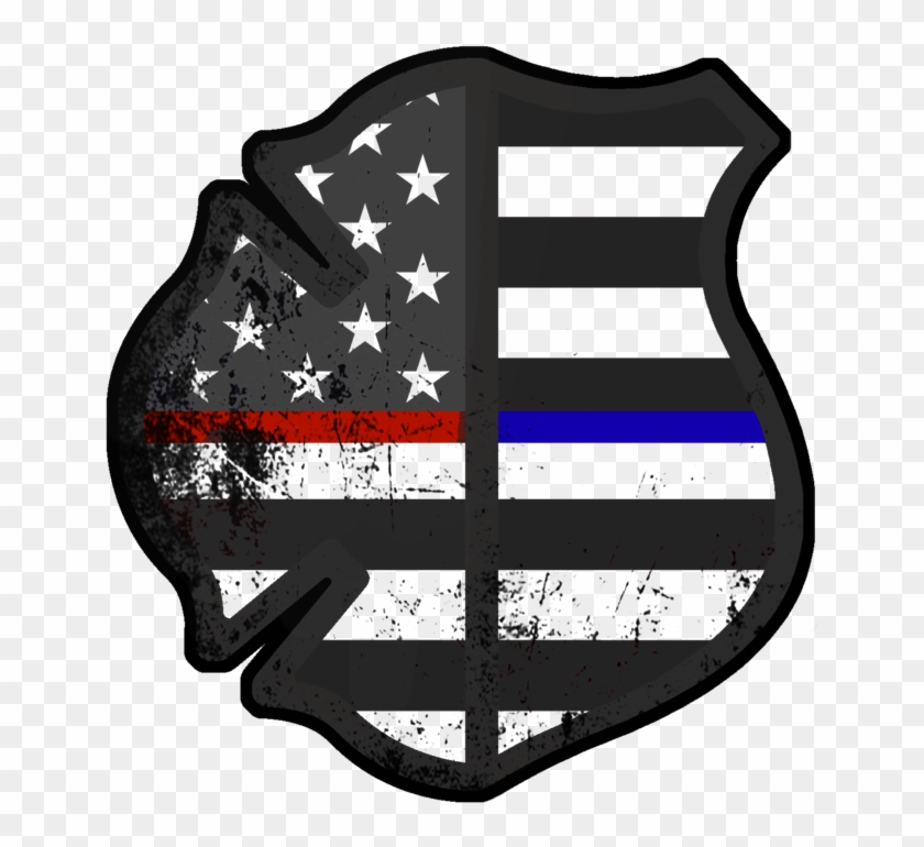 Subdued American Fire & Police Decal - Police And Fire Logo - Free