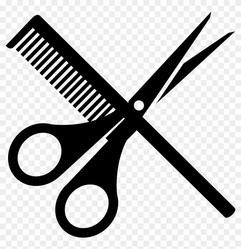 Scissors Icon Black - Scissors And Comb Png #891802