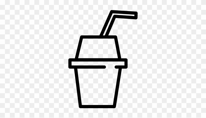 Soft Drink In Paper Cup With Drinking Straw Vector - Plastic Cup With Straw Icon Png #893951