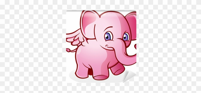Flying Pink Elephant Cartoon Character Wall Mural • - Pink Elephant Queen Duvet #894148