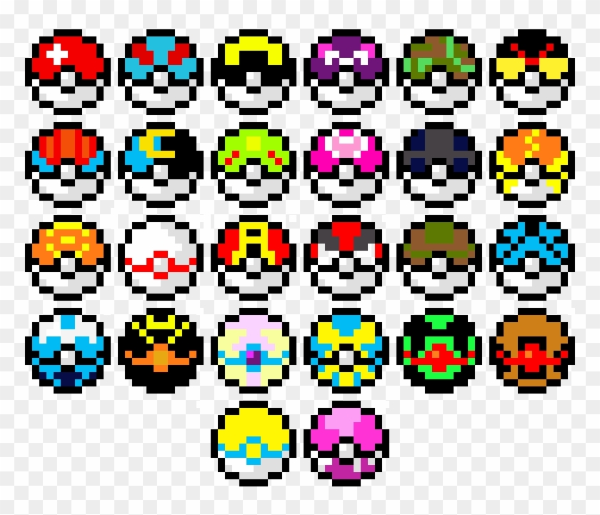 Pixel Pokeballs Pixel Art Pokemon Pokeball Free Transparent Png