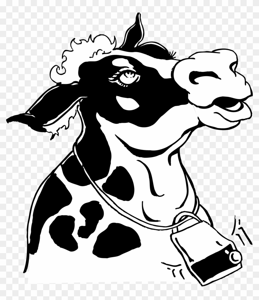 Cattle Dog Black And White Clip Art - Cow Png Vector Black And White #897277