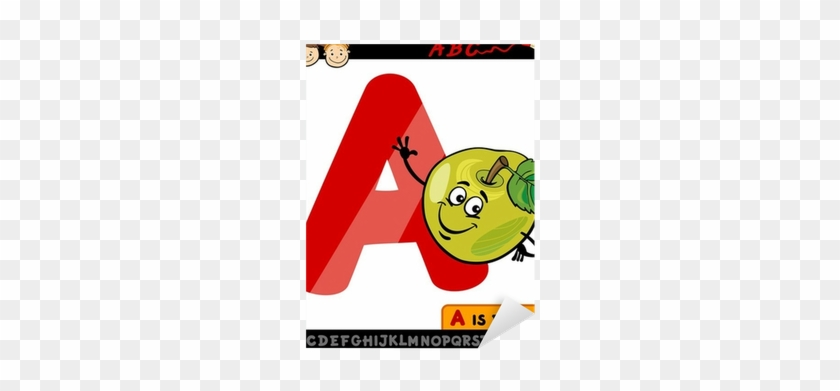 Letter A With Apple Cartoon Illustration Sticker • - Alphabet Letters Cartoon #899958