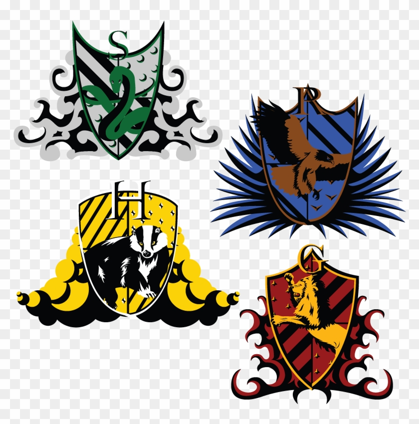 graphic about Harry Potter House Banners Printable titled The Hogwarts Crests Drawing - Harry Potter Residences Vector
