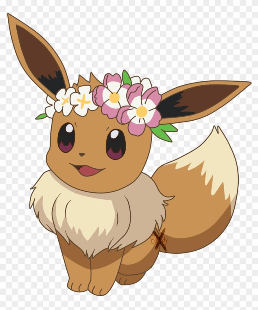 Eevee Flowercrown By Paintingbunnx Eevee Flowercrown Pokemon Eevee