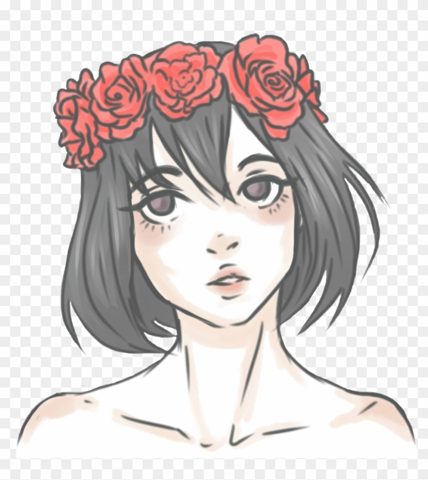 Girl Asian Anime Kawaii Flowercrown Flowers Red Roses Girl With