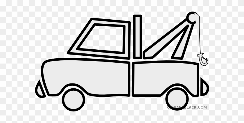 Tow Truck Transportation Free Black White Clipart Images