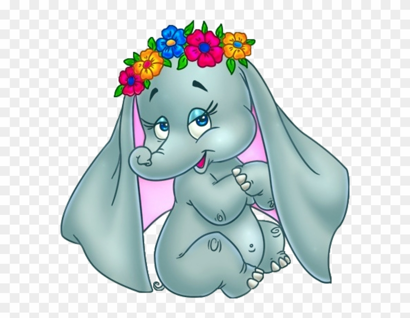 Cute Elephant Image With Flowers On Head - Cartoon Pictures Of Baby Elephants #903997