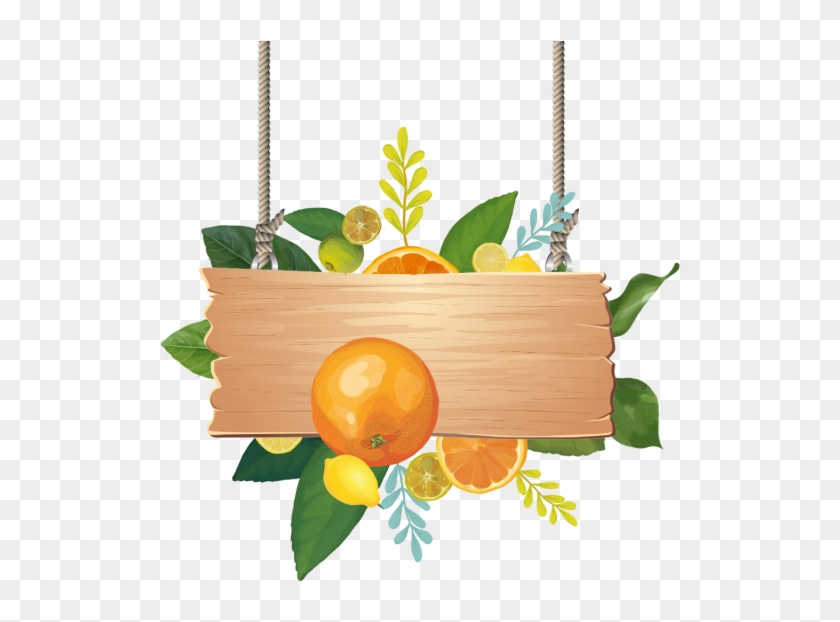 Wooden Sign Board With Watercolor Summer Tropical Fruits, - Tropical Fruit #904101