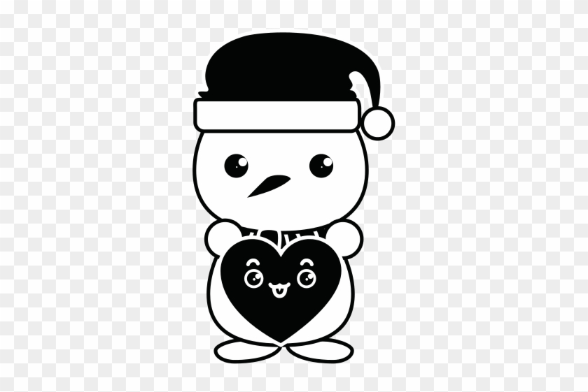 Snowman With Christmas Hat And Heart Kawaii Character Muñeco De