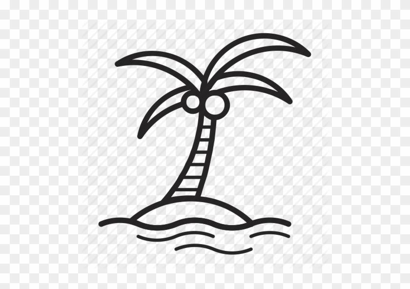 Coconut Clipart Coconut Island - Palm Tree Icon Transparent #905871