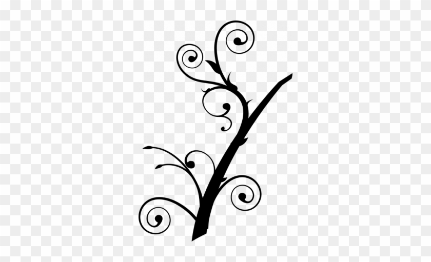 Org-vector Image Of Upright Twisted Branch Silhouette - Tree Branch Clip Art #906095