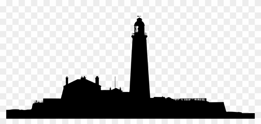 Silhouette Of Buildings Under Gray Clouds Free Stock - Light House Silhouette #18115