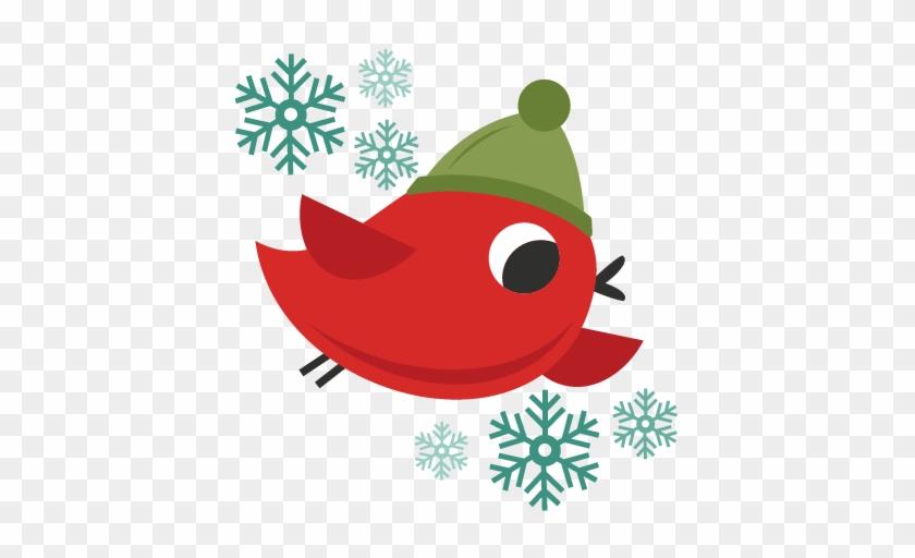 Christmas Bird Cute Christmas Words Clipart - Cricut #18154