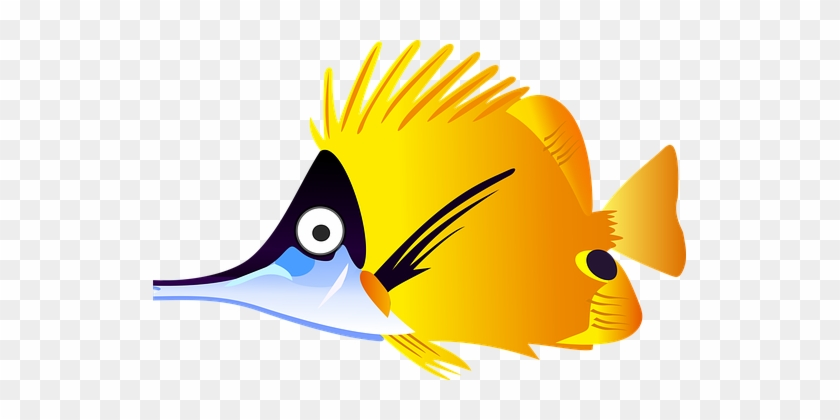 Cartoon Fish Sea Tropical Yellow Fish Fish - Cartoon Tropical Fish #18295