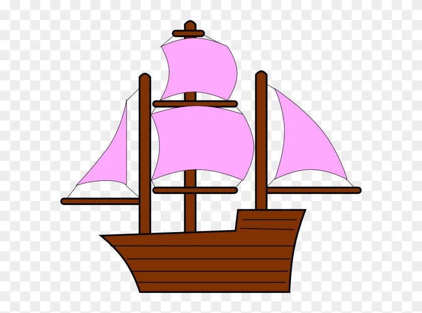 Pink Pirate Ship Clip Art - Pirate Ship Clipart #18356