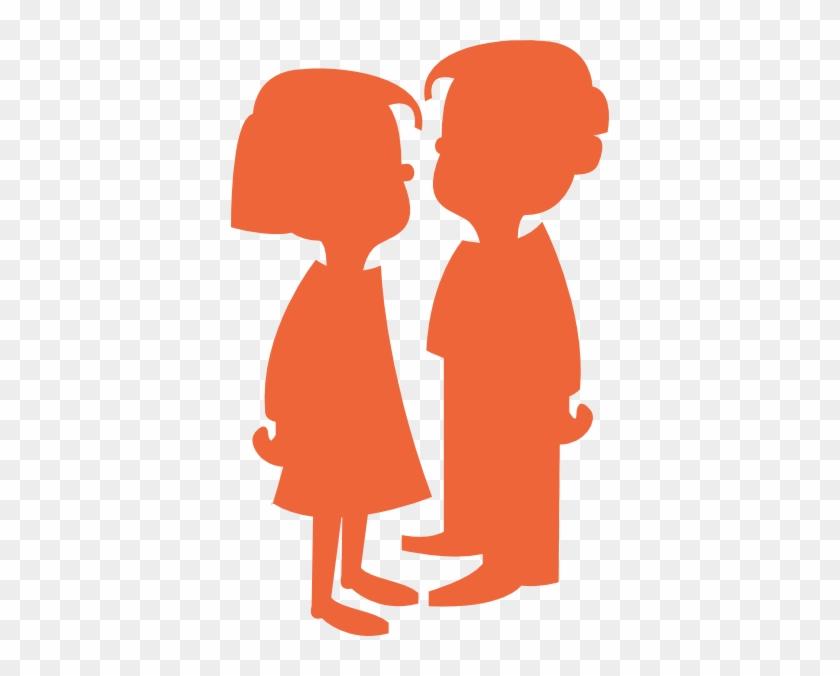 Boy Girl Silhouette Orange Clip Art - Cartoon Girl And Boy #18424