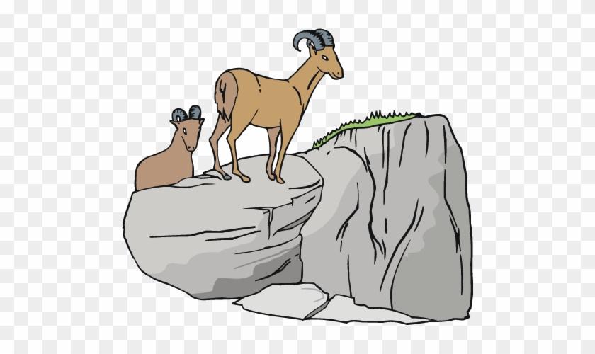 Goats - Goat Climbing The Mountain Clipart #18425