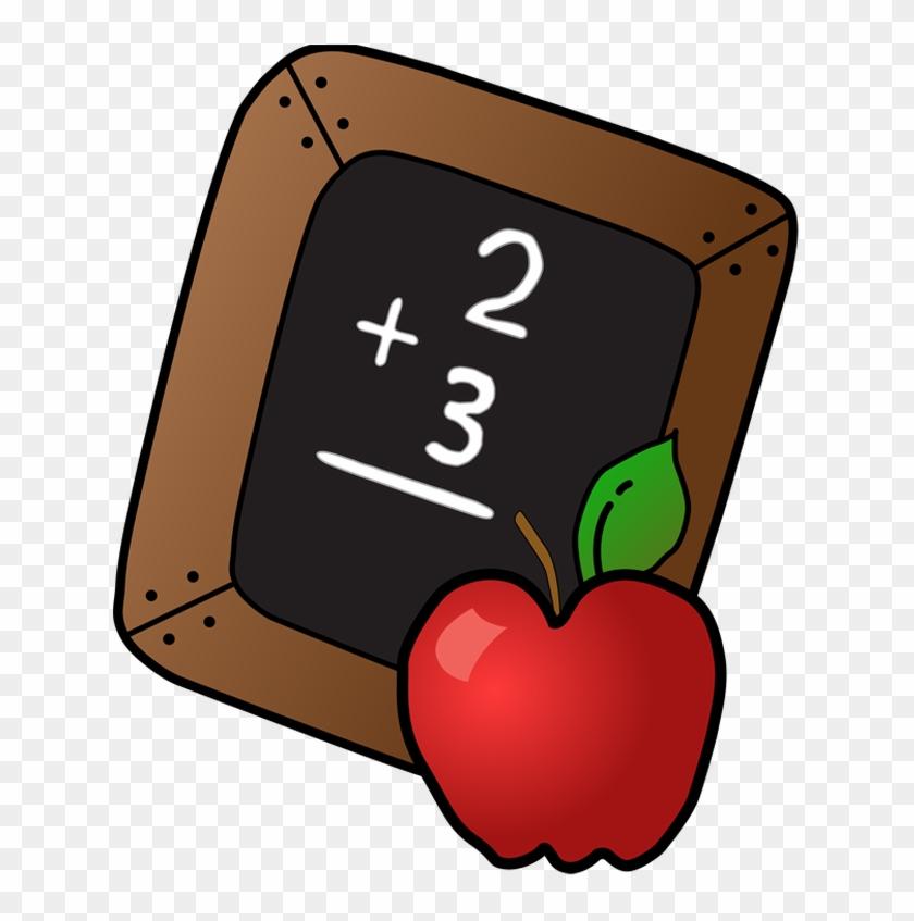 Slate And Apple Clip Art - School Clip Art Free #18521