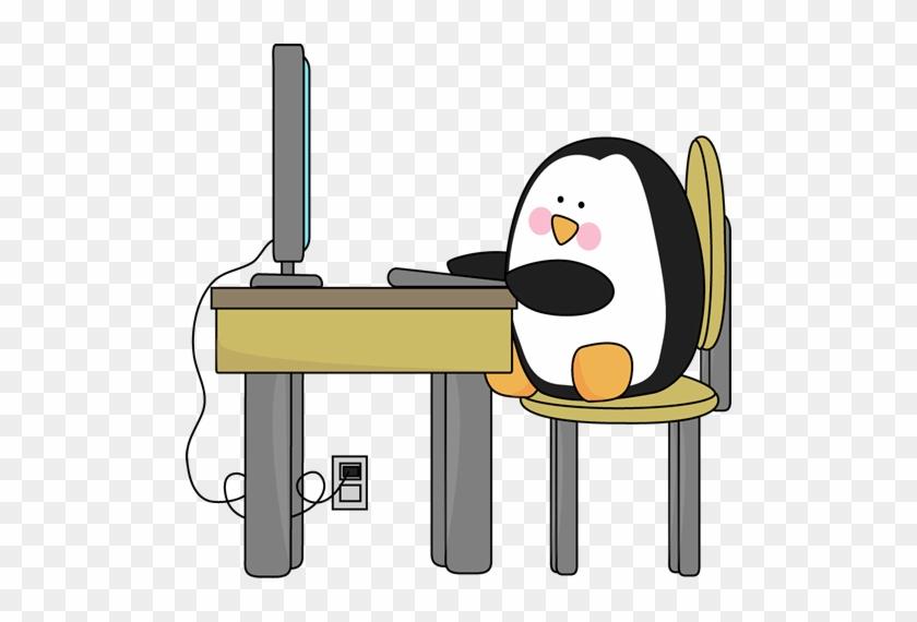 Penguin Using A Computer - Penguin Using Computer #18528