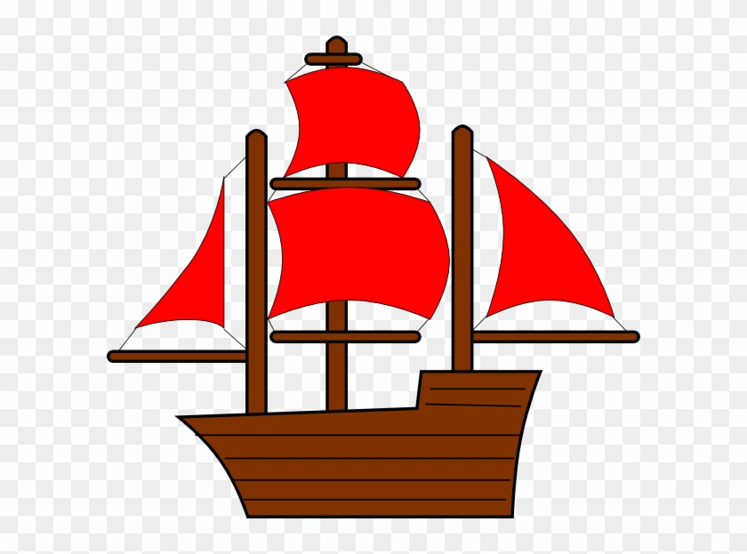 Red Pirate Ship Clip Art At Clker - Red Pirate Ship Clip Art #18585
