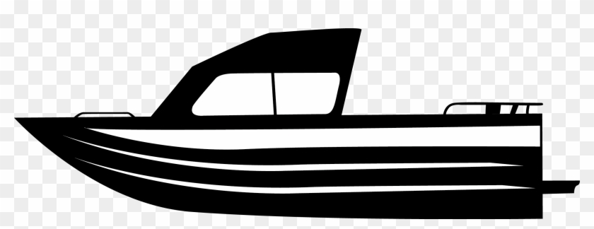 Black And White Fishing Boat Clipart #18623