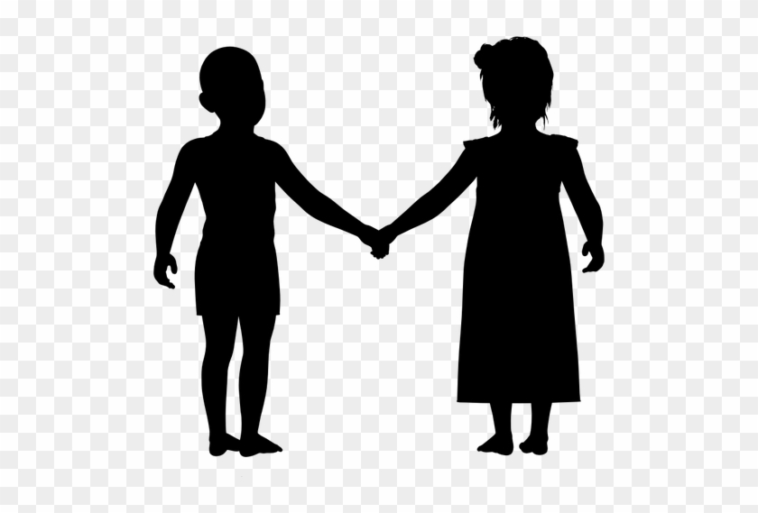 Boy And Girl Holding Public Domain Vectors - Boy And Girl Holding Hands Silhouette #18632