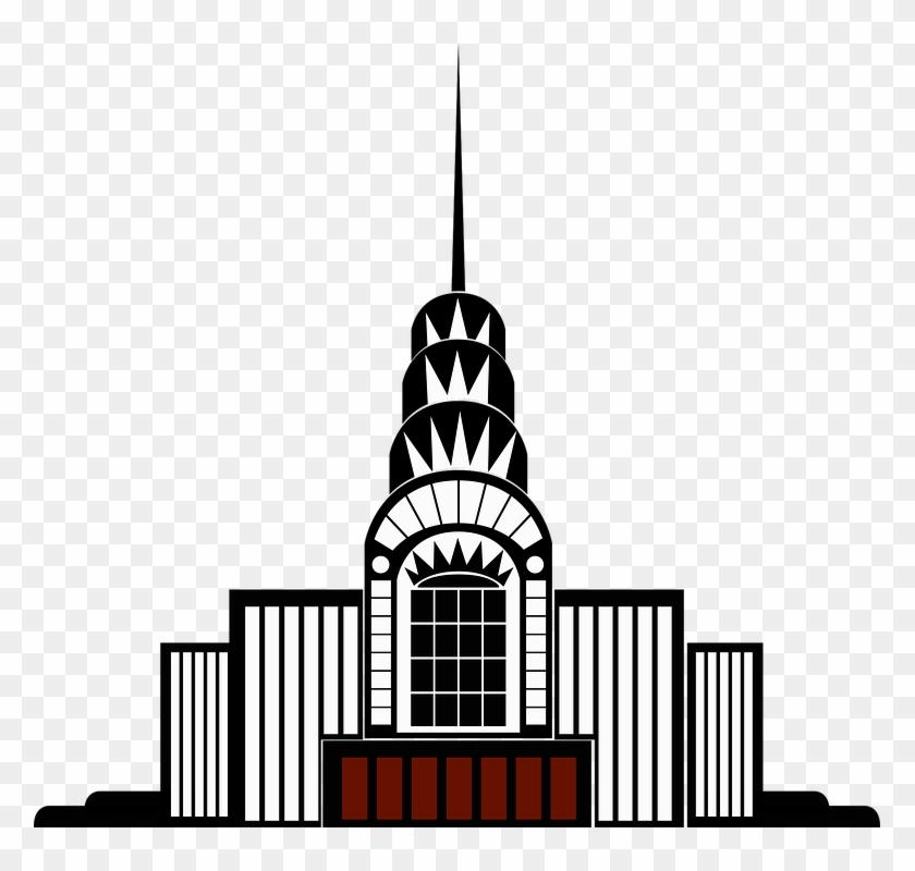 Vintage Clip Art Building Art Deco High Rise - Art Deco Building Png #18757