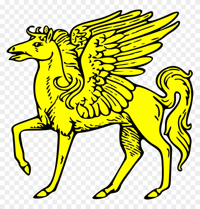 Shield, Gold, Coat, Arms, Crest, Animal - Flying Horses Clip Art #18782