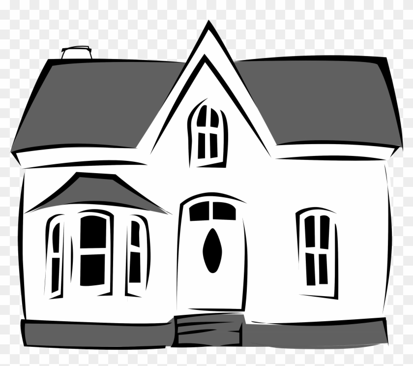 Commercial Black And White House Clipart - Black And White House #19081