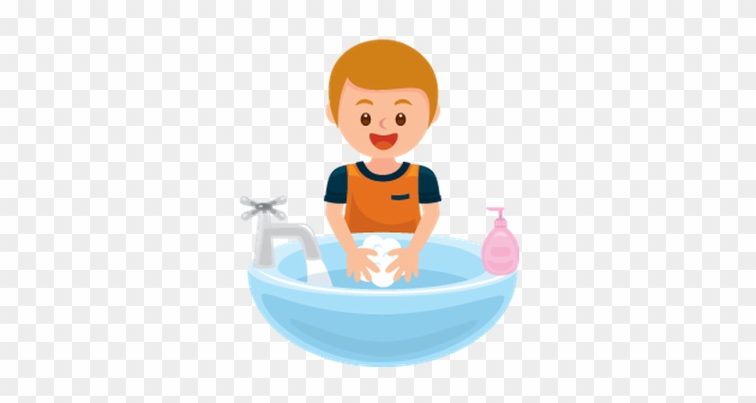 Hand Wash Clip Art Washing Hands Get Away Bacteria - Boy Washing Hands Clipart #19078
