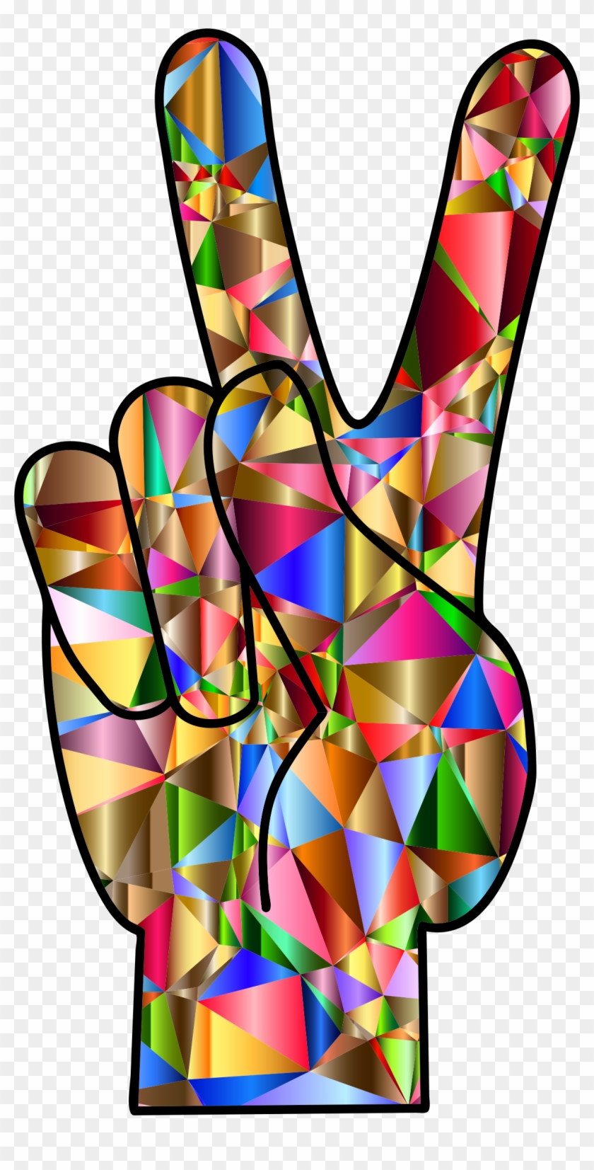 Big Image - Colorful Peace Hand Sign #19090
