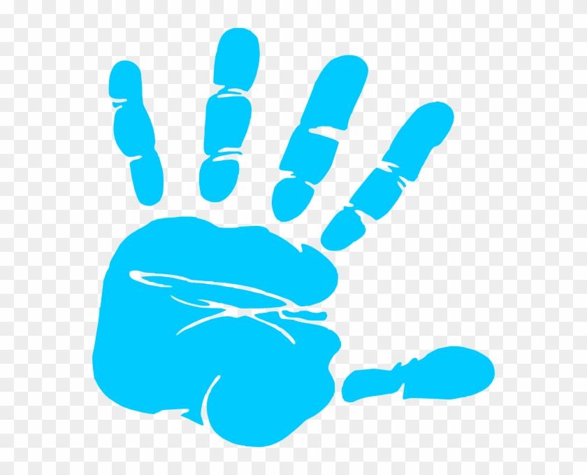 Blue Hand Print Clip Art At Clker Vector Clip Art Online - Handprint Clipart #19146