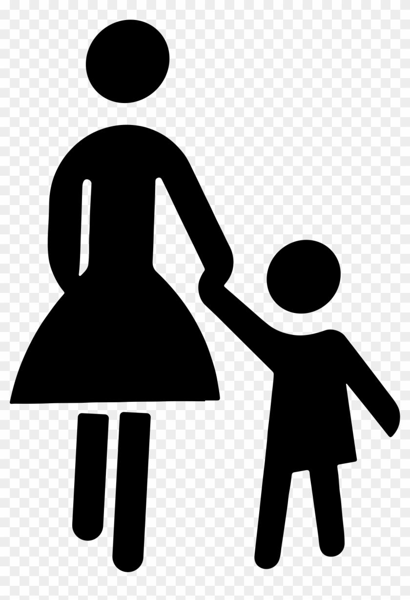 Child Clipart Silhouette - Mother And Child Graphic #19162