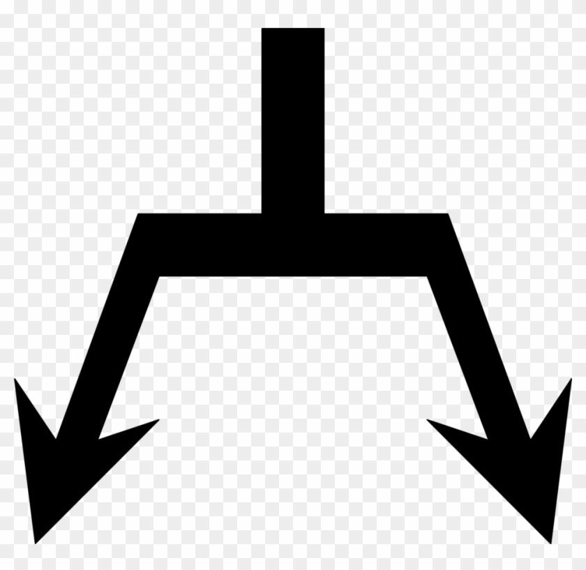 Diagonal Arrow Clip Art - Arrow Split Into 2 #19185