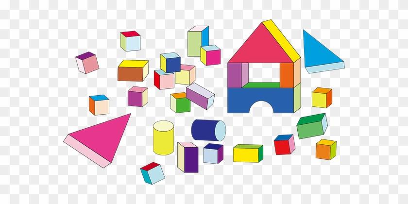 Building Blocks Cubes Cylinders Prismatic - Building Blocks Clipart Png #19273