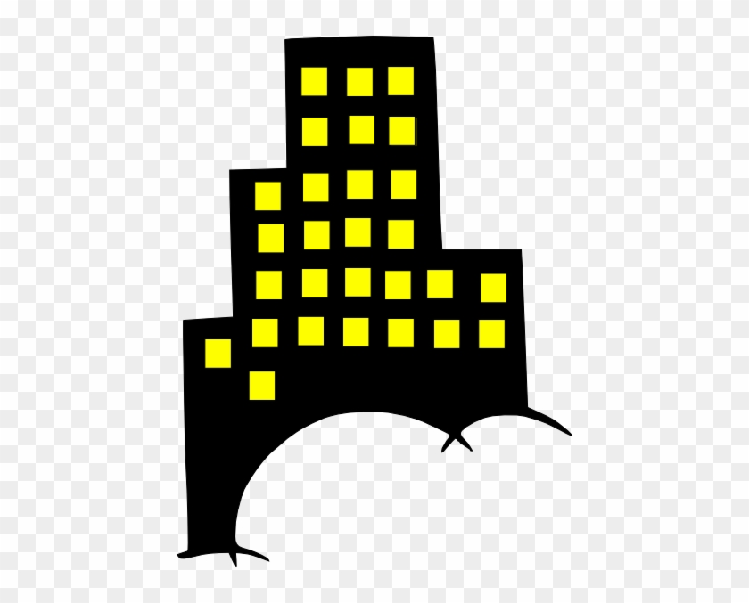 Skyscraper Building Clip Art - Black And Yellow Buildings #19428