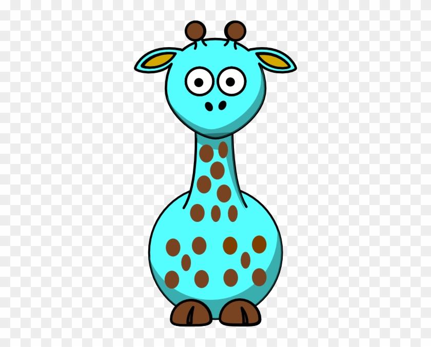 Light Blue Giraffe With 18 Dots Clip Art At Clker - Cartoon Giraffe #19516