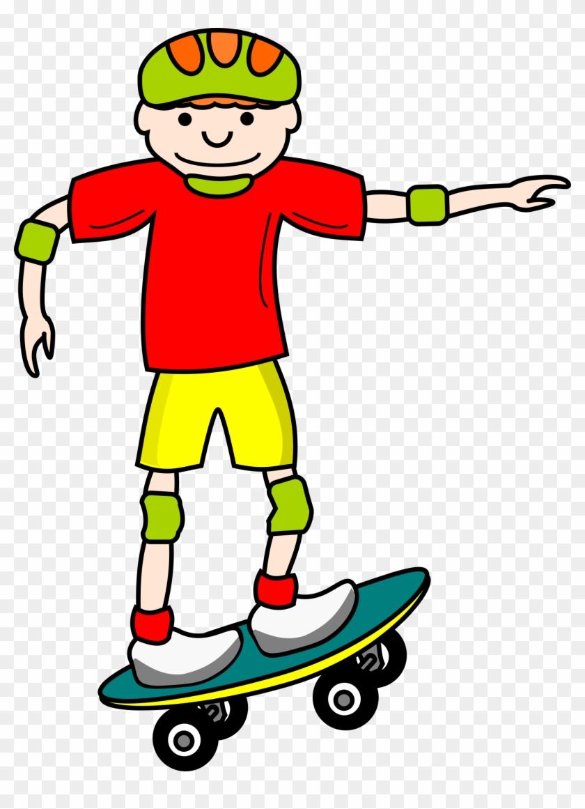 Boy Giraffe Baby Shower Clip - Skateboard Clipart #19565