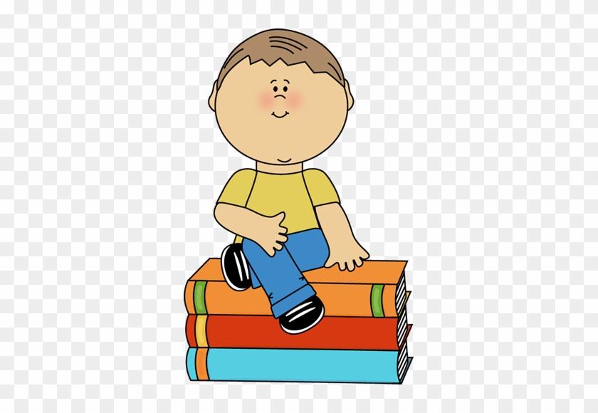 Boy Sitting On Books - Boy Sitting Clipart #19652