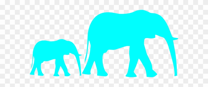 Mom And Baby Elephant Blue Clip Art - Elephant Clipart Black And White #19663
