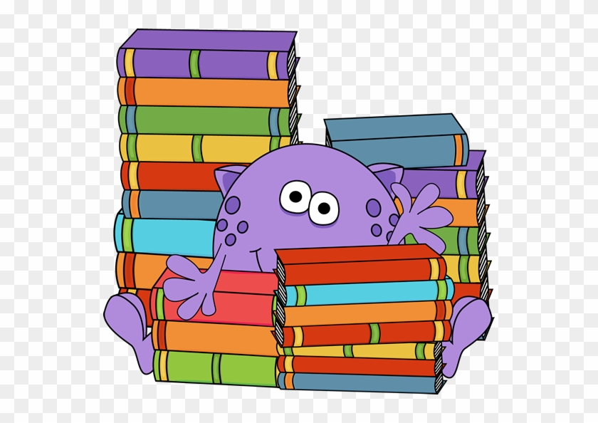 Monster Surrounded By Books - Cute Monster Reading Clipart #19880