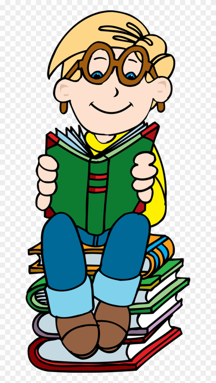 Boy Reading On Stack Of Books Clipart Clipartfest - Clipart Boy With Books #19881